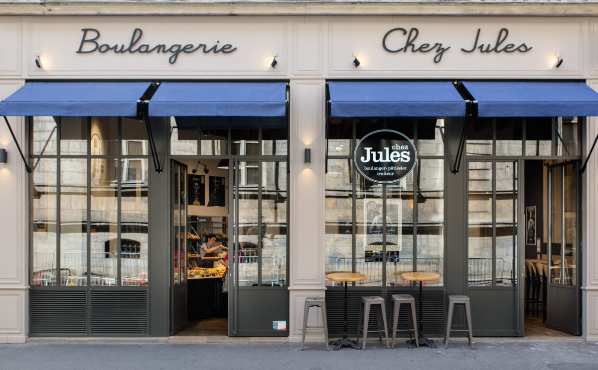 chez jules est une boulangerie chic de quartier con u par le studio frvr. Black Bedroom Furniture Sets. Home Design Ideas