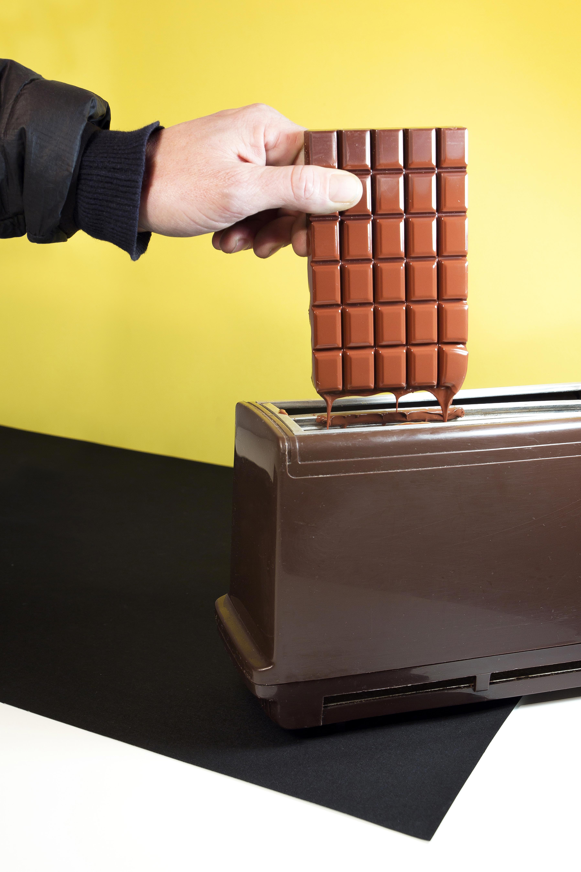 chocolat dans un grille pain, shooting culinaire décalé