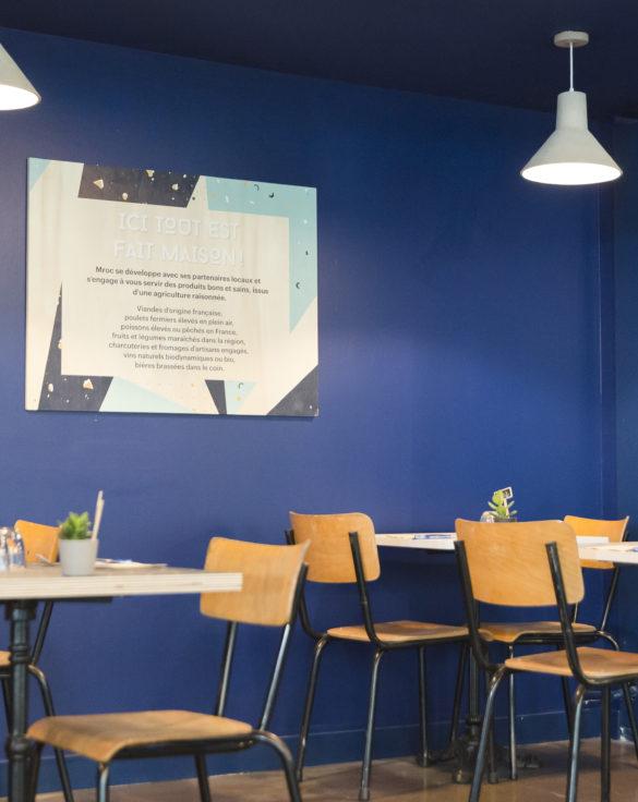 mroc bloc et bistro restaurant panneau signalétique architecture design d'espace studio frvr