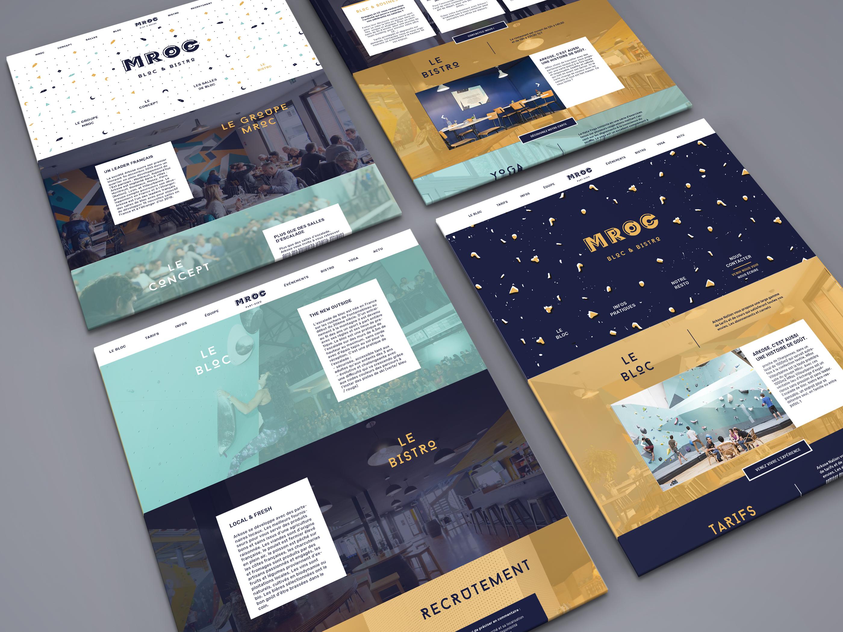 mroc bloc et bistrot design template du site internet par le studio frvr