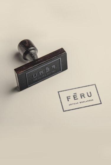 Féru artisan boulanger logo et identité visuelle détail tampon conçu par le studio frvr
